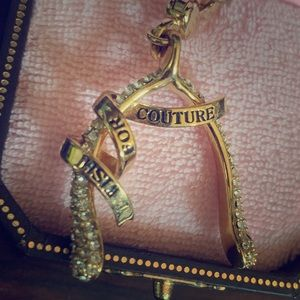 NEW Juicy Couture Wishbone Lucky GoldCrystal Charm